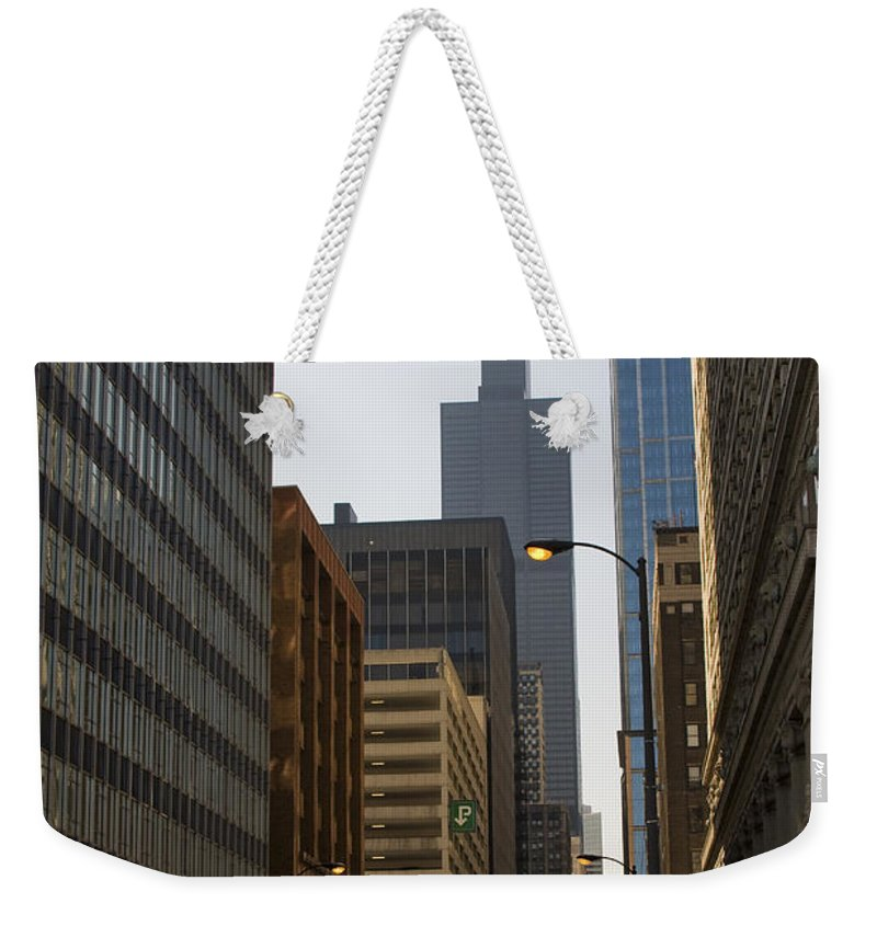 Chicago Windy City Street Trafic Car People Building Skyscraper High Tall Urban Metro Weekender Tote Bag featuring the photograph Walking In Chicago by Andrei Shliakhau