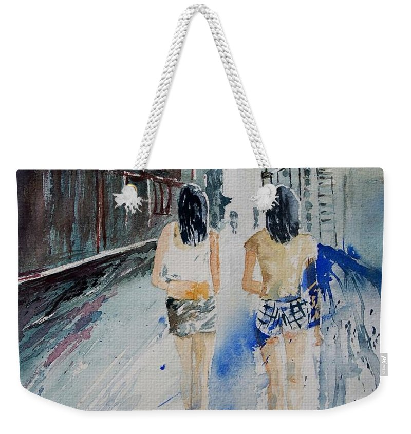 Girl Weekender Tote Bag featuring the painting Walking In The Street by Pol Ledent
