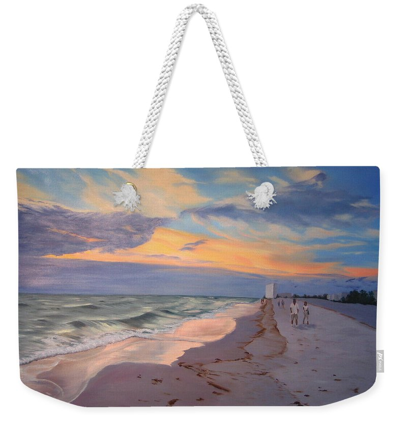 Seascape Weekender Tote Bag featuring the painting Walking On The Beach At Sunset by Lea Novak