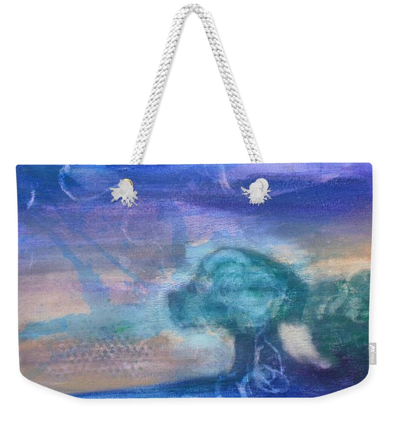 Abstract Weekender Tote Bag featuring the painting Walking On Water by Amber and Norah Ruehe