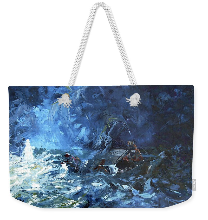 Abstract Weekender Tote Bag featuring the painting Walking On Water by Lewis Bowman