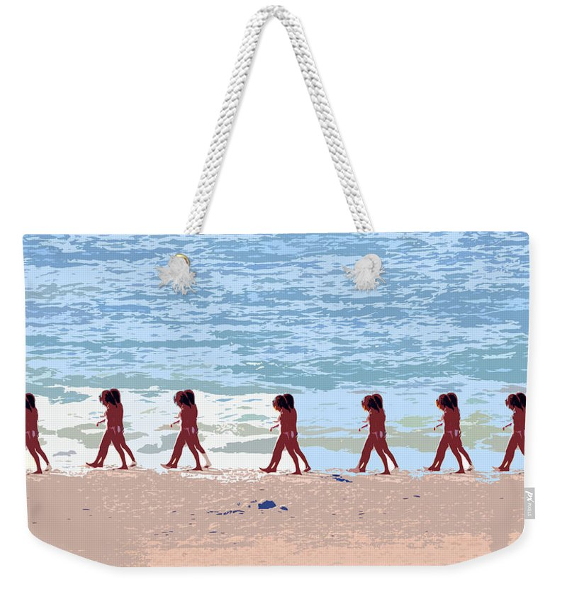 Pop Art Weekender Tote Bag featuring the painting Walking The Beach by David Lee Thompson
