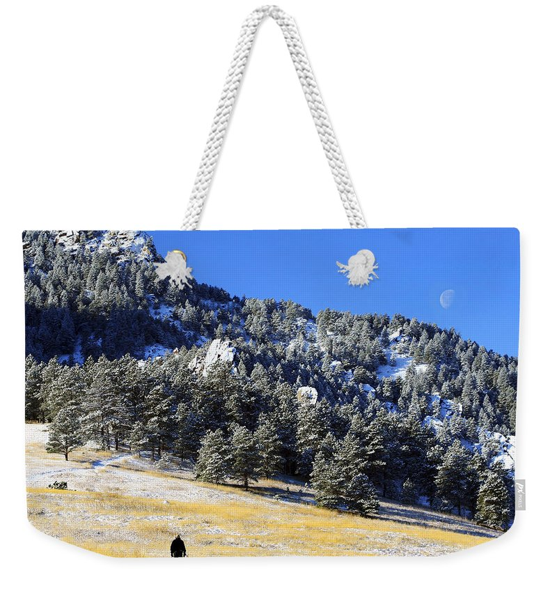 Colorado Weekender Tote Bag featuring the photograph Walking Under The Moon by Marilyn Hunt