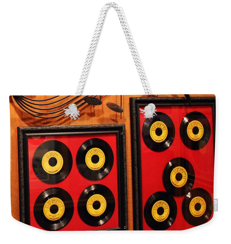 Display Weekender Tote Bag featuring the photograph Wall Of Records by Jennifer Robin