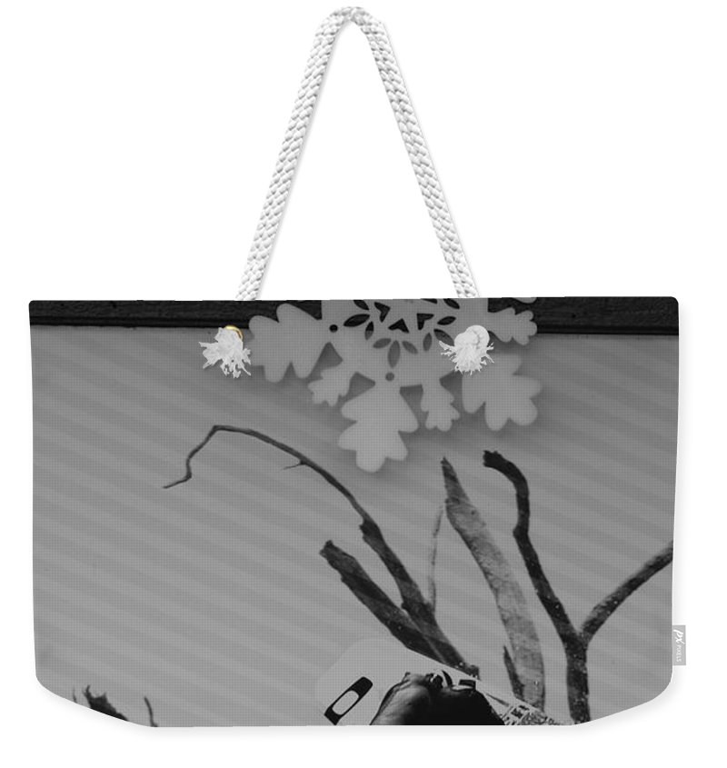 Snow Flake Weekender Tote Bag featuring the photograph Wall Surfing With A Snow Flake by Rob Hans