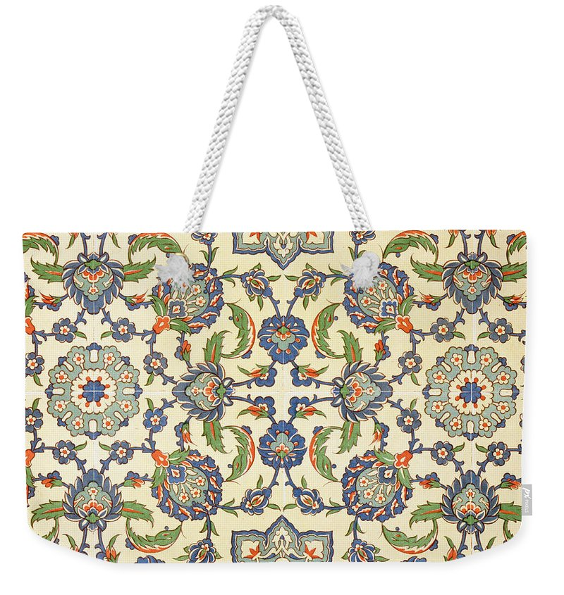 Faience Weekender Tote Bag featuring the drawing Wall Tiles Of Qasr Rodouan by Emile Prisse d'Avennes