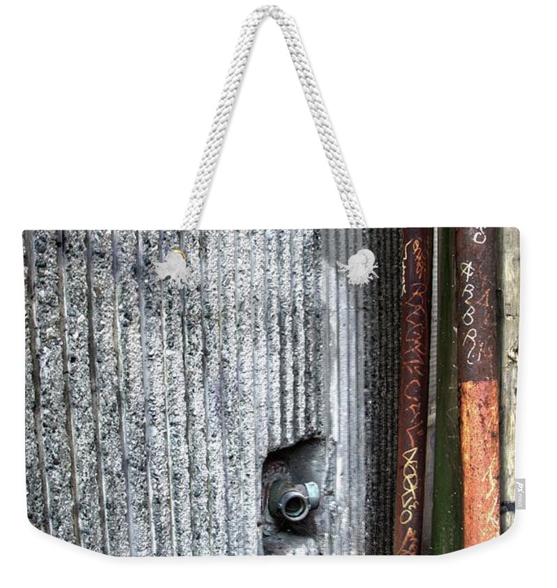 Metal Prints Weekender Tote Bag featuring the photograph Walled Pipes by Dorothy Hilde