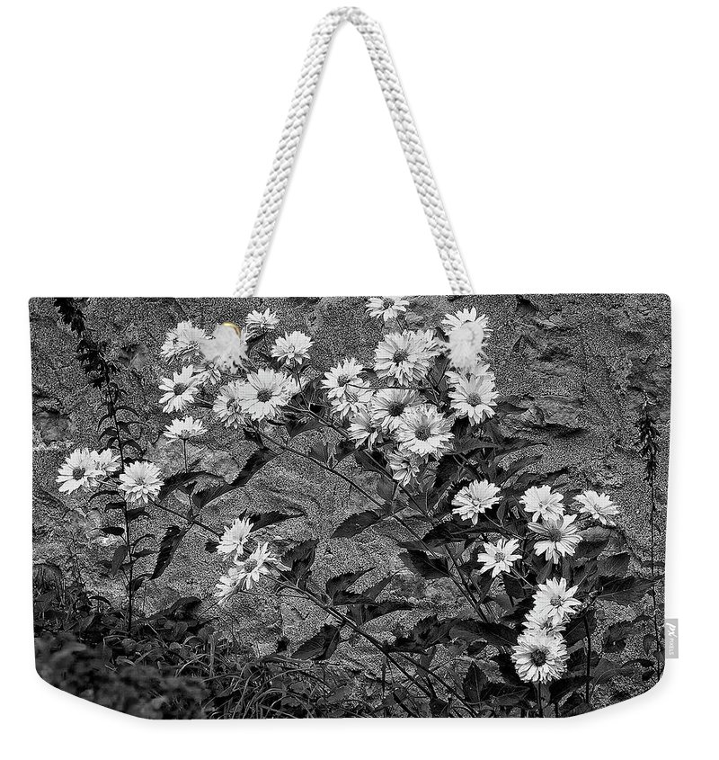 Flower Weekender Tote Bag featuring the photograph Wallflower Ain't So Bad Bw by Steve Harrington