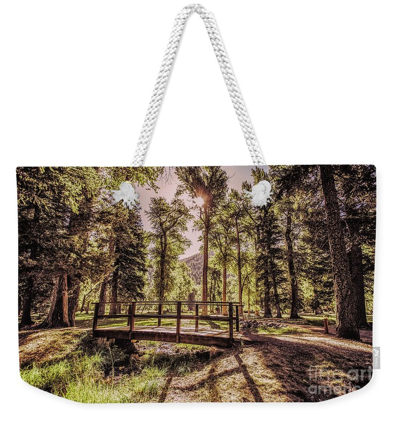 Weekender Tote Bag featuring the photograph Wallowa Lake Foot Bridge by Marcia Darby