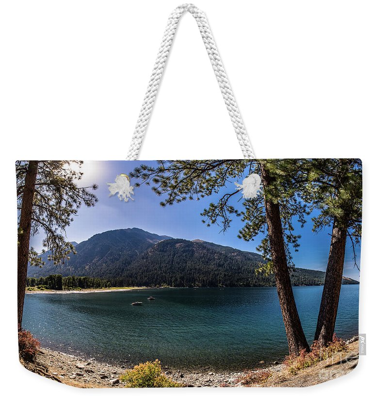 Weekender Tote Bag featuring the photograph Wallowa Lake Panorama by Marcia Darby