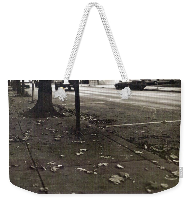 Black And White Photograph Weekender Tote Bag featuring the photograph Walnut Street by Thomas Valentine