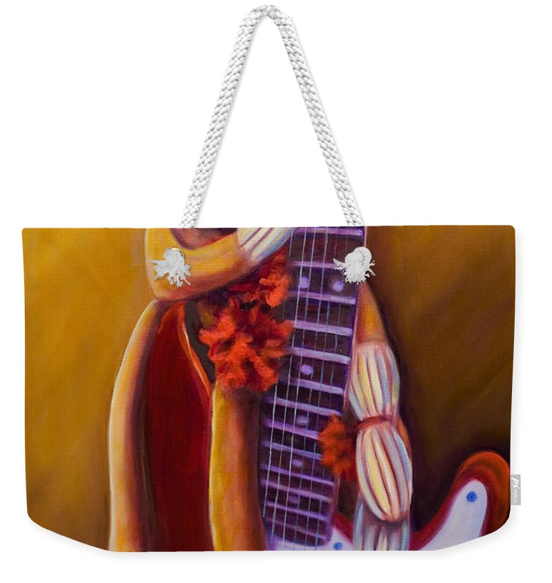 Monkey Weekender Tote Bag featuring the painting Wanna Be A Rocker by Shannon Grissom