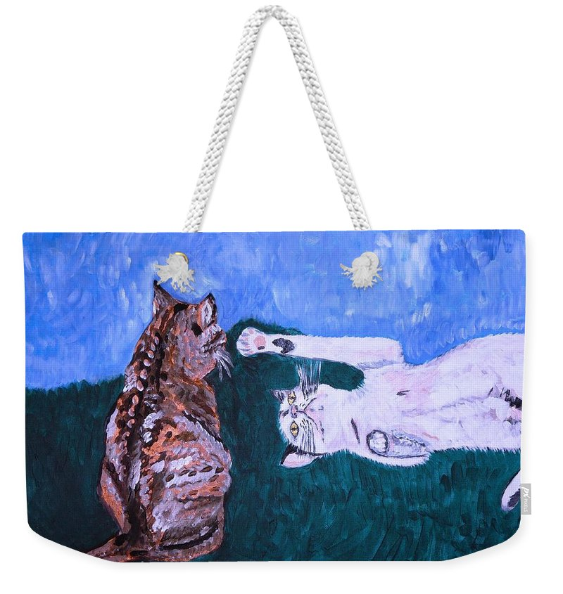 Cat Weekender Tote Bag featuring the painting Want To Play by Valerie Ornstein