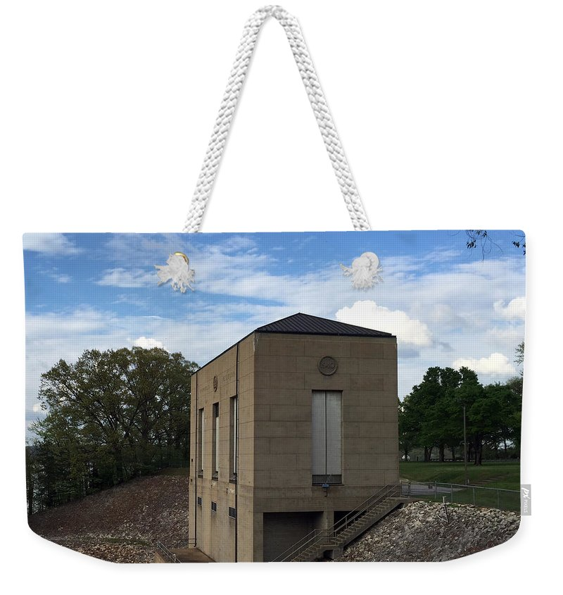Gatehouse Weekender Tote Bag featuring the photograph Wappapello Dam Gate House by James Pinkerton