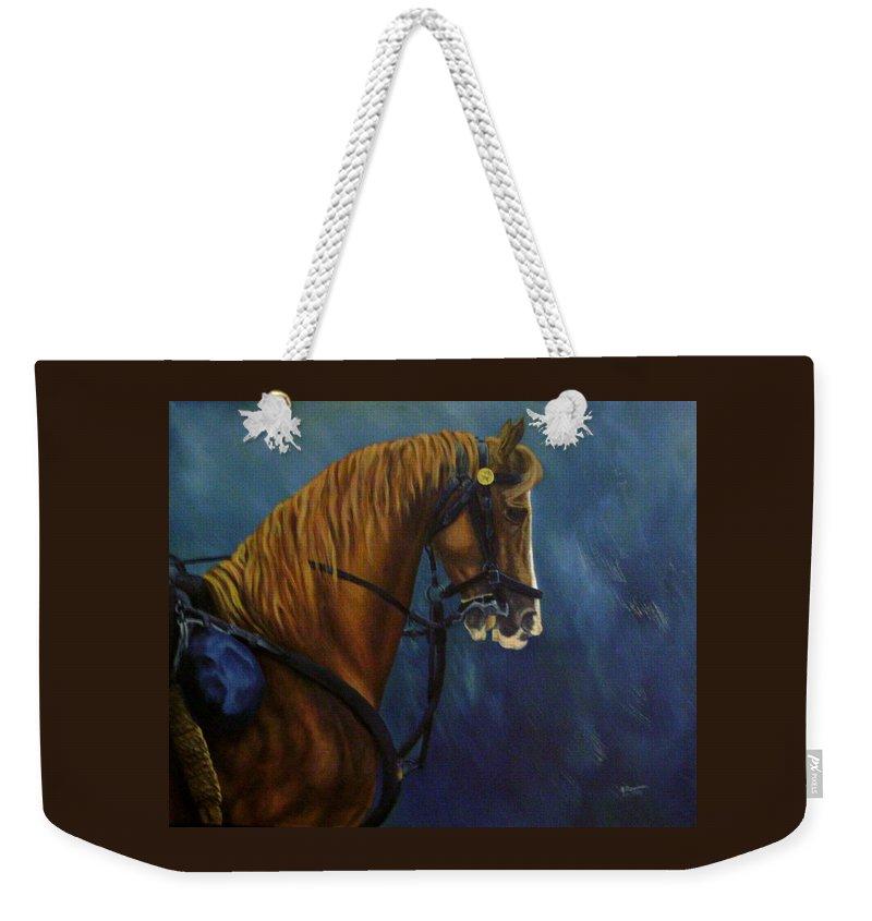 Civil War Weekender Tote Bag featuring the painting Warhorse-us Cavalry by Joann Renner