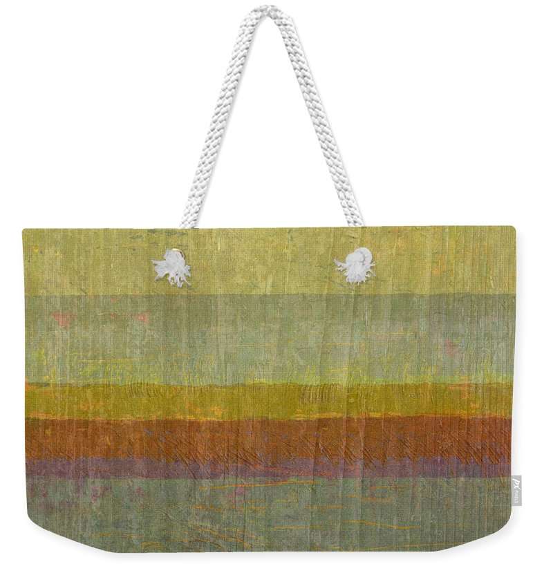 Abstract Weekender Tote Bag featuring the painting Warm Colors 12 by Michelle Calkins