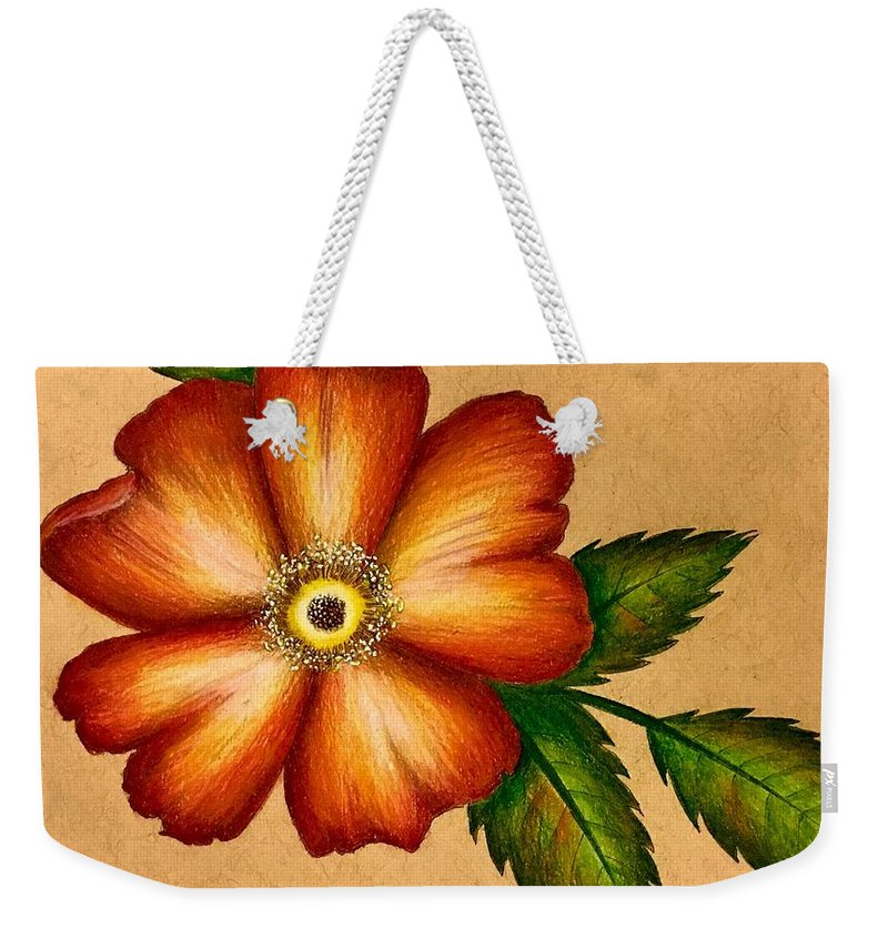 Nature Weekender Tote Bag featuring the drawing Warm Flower by Jolie Shave