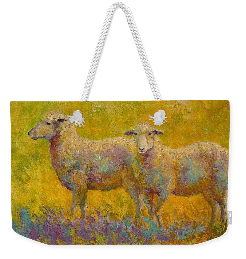 Llama Weekender Tote Bag featuring the painting Warm Glow - Sheep Pair by Marion Rose