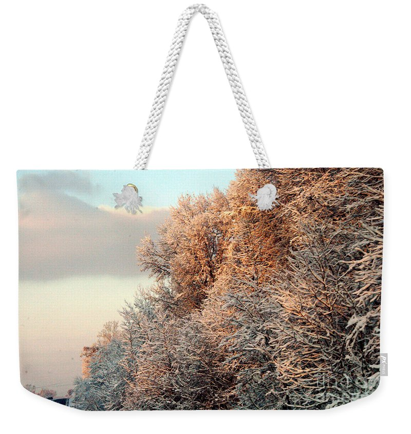 Clay Weekender Tote Bag featuring the photograph Warm Light Snow by Clayton Bruster