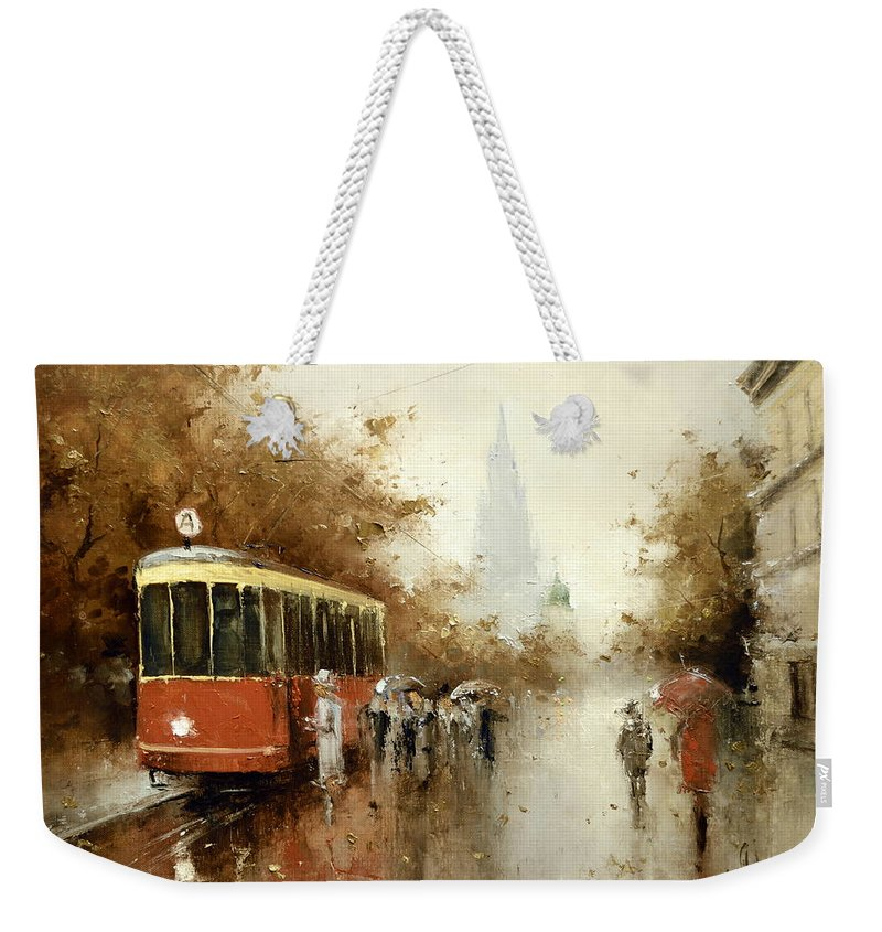 Russian Artists New Wave Weekender Tote Bag featuring the painting Warm Moscow Autumn Of 1953 by Igor Medvedev