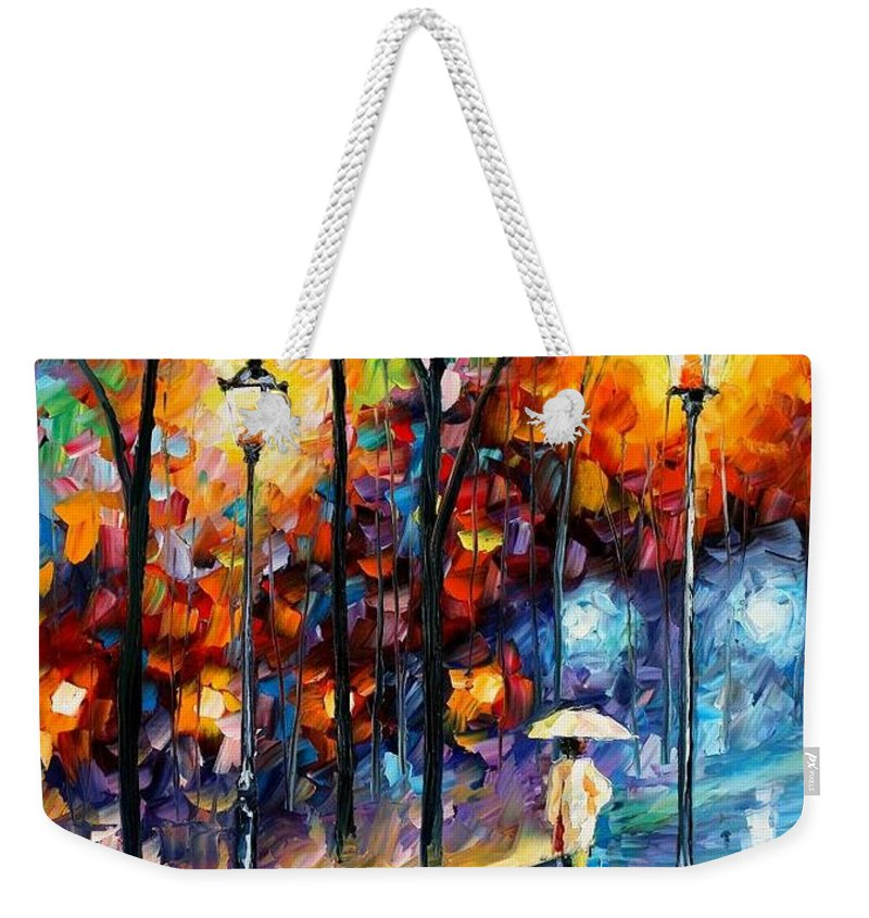 Afremov Weekender Tote Bag featuring the painting Warm Winter by Leonid Afremov