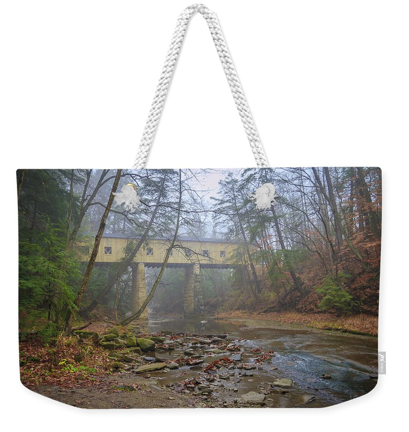 Ohio Weekender Tote Bag featuring the photograph Warner Hollow Rd Covered Bridge by Jack R Perry