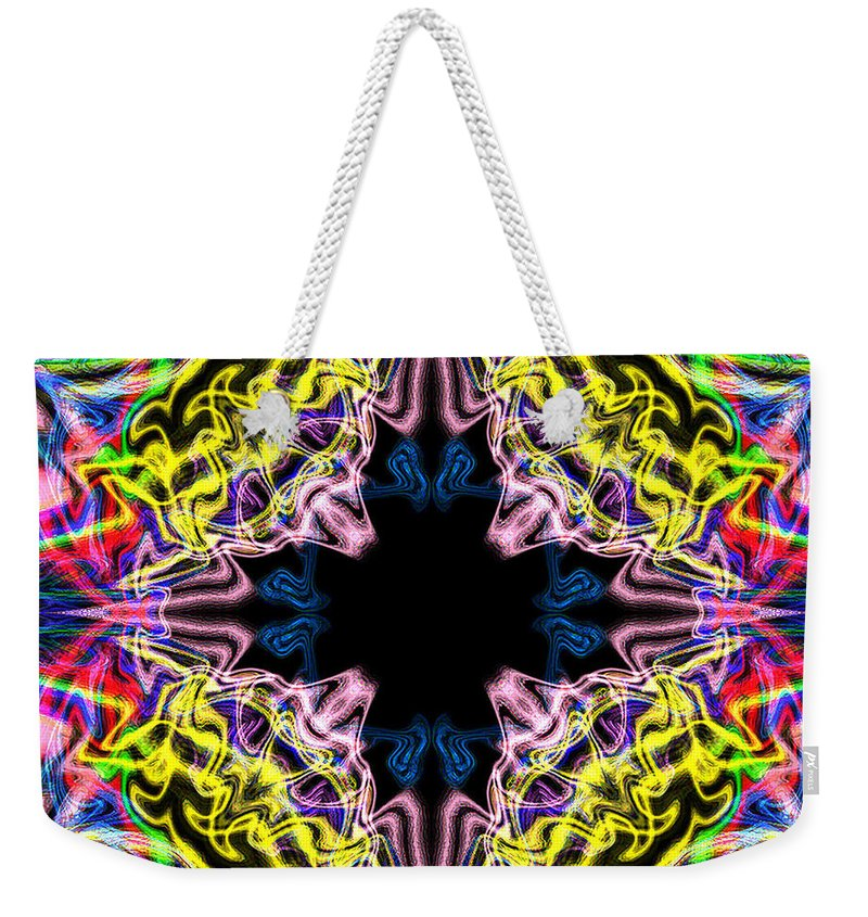 Flower Weekender Tote Bag featuring the digital art Warp Flower by Blind Ape Art
