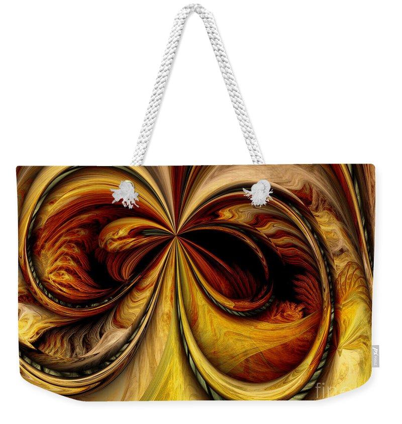 Digital Weekender Tote Bag featuring the digital art Warped Journey by Deborah Benoit