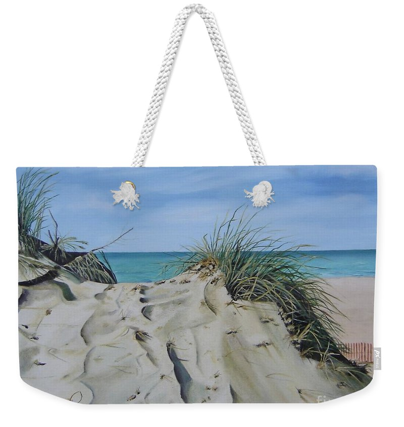 Lake Weekender Tote Bag featuring the painting Warren Dunes by Mary Rogers
