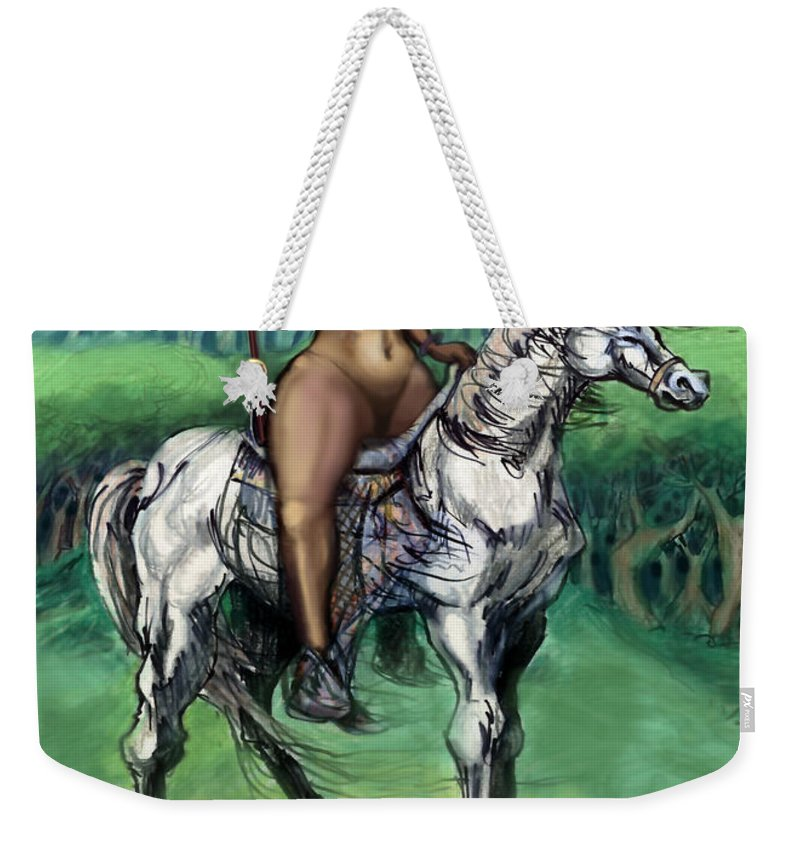Warrior Weekender Tote Bag featuring the painting Warrior Maiden by Kevin Middleton