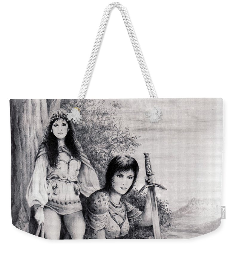 Floral Weekender Tote Bag featuring the drawing Warriors by Rachel Christine Nowicki