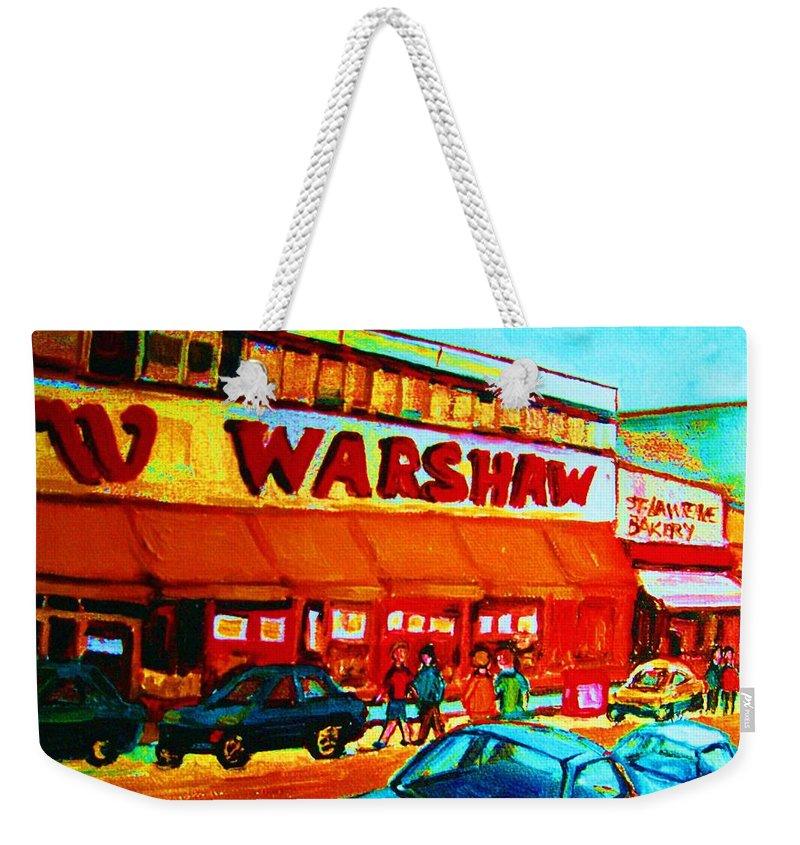 Warshaws Fruit Store Weekender Tote Bag featuring the painting Warshaws Fruitstore On Main Street by Carole Spandau