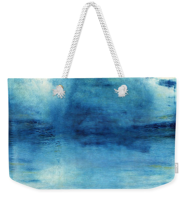 Blue Weekender Tote Bag featuring the painting Wash Away- Abstract Art by Linda Woods by Linda Woods
