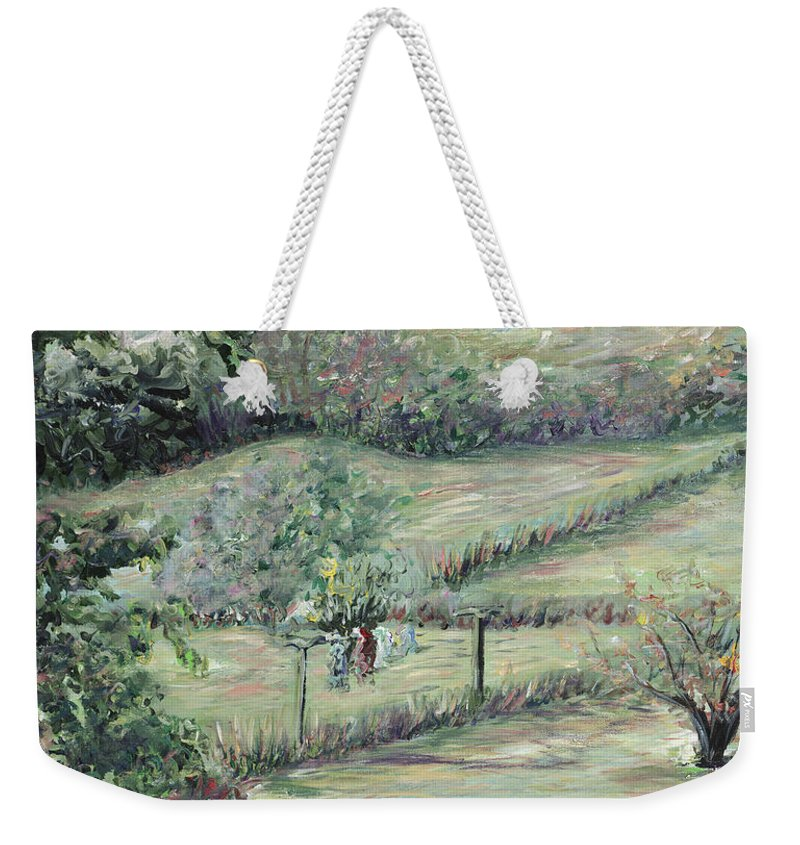 Landscape Weekender Tote Bag featuring the painting Washday In Provence by Nadine Rippelmeyer