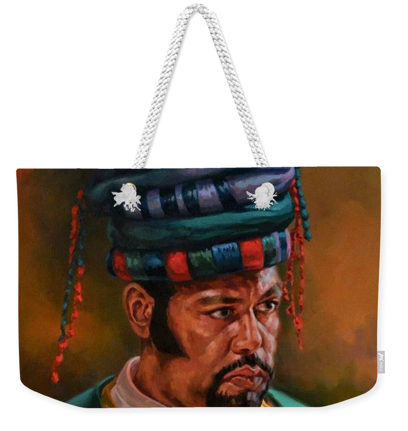 Oriental Weekender Tote Bag featuring the painting Bashbozuk by Ahmed Bayomi