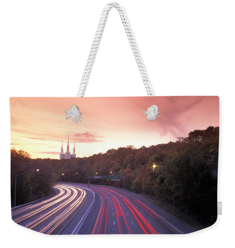 Montgomery County Maryland Weekender Tote Bag featuring the photograph Washington Beltway Traffic, Route 495 by Richard Nowitz