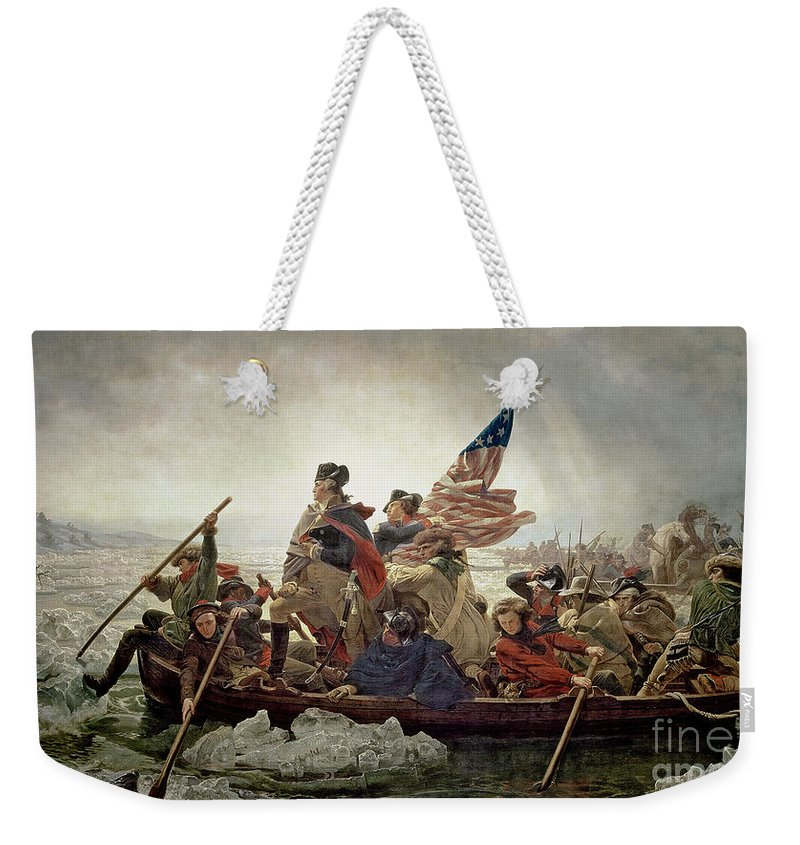 Washington Weekender Tote Bag featuring the painting Washington Crossing the Delaware River by Emanuel Gottlieb Leutze