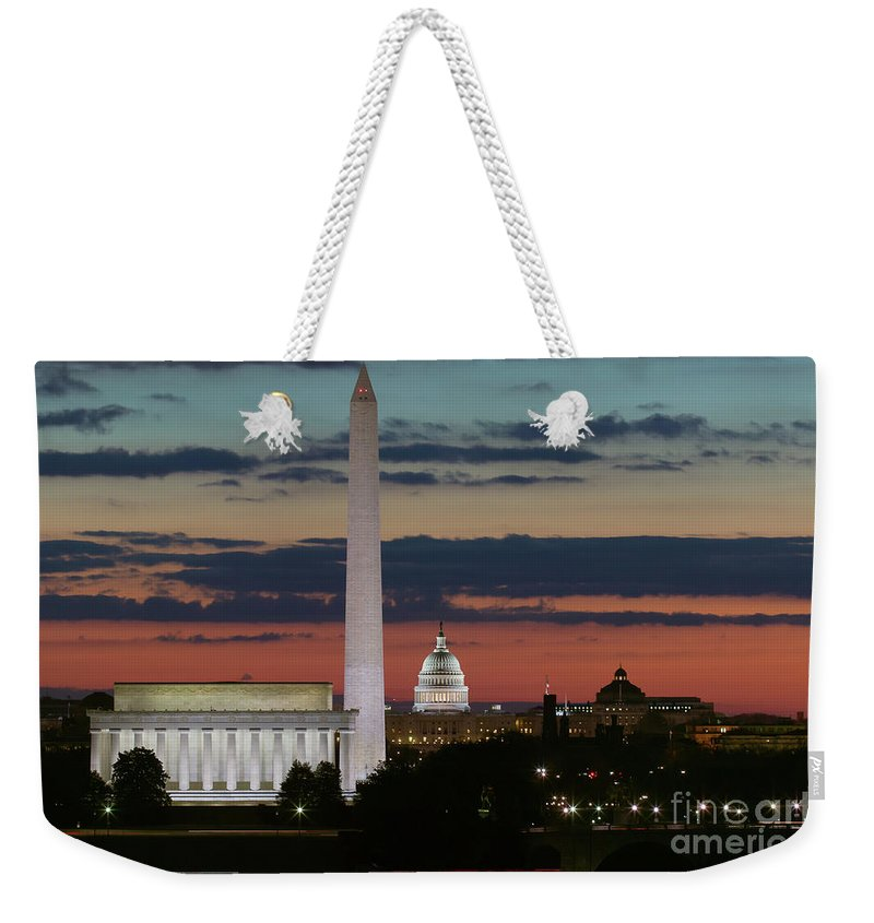 Clarence Holmes Weekender Tote Bag featuring the photograph Washington Dc Landmarks At Sunrise I by Clarence Holmes