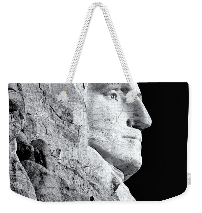 Washington Weekender Tote Bag featuring the photograph Washington Granite In Black And White by Nicholas Blackwell