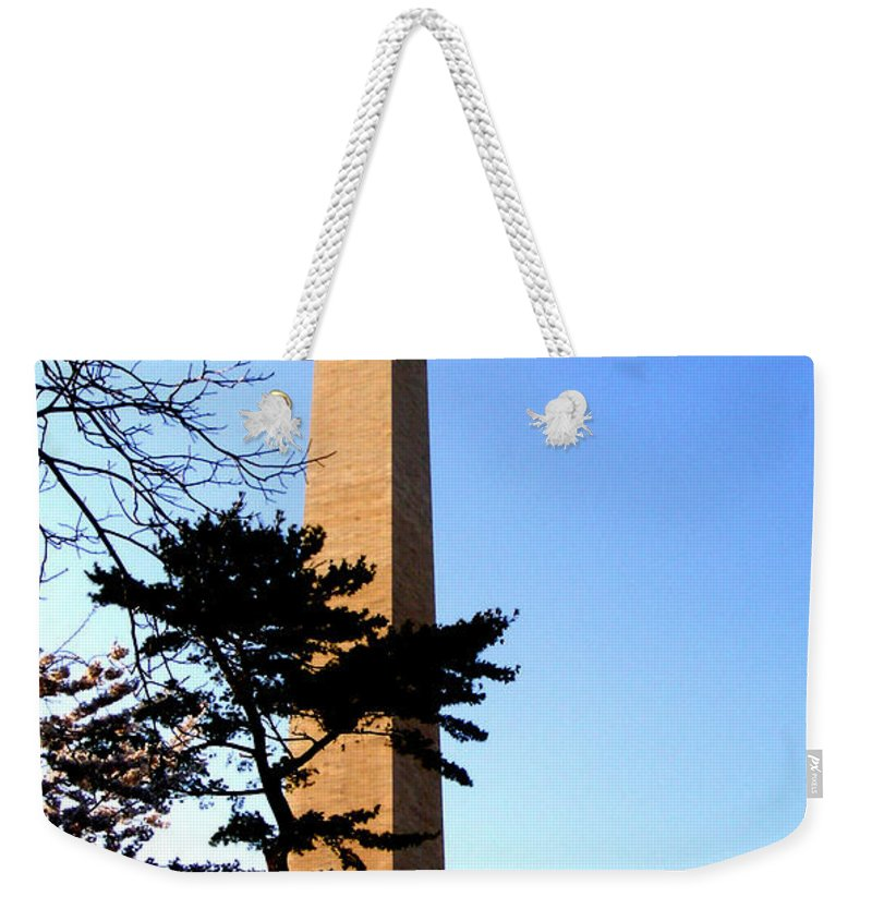 Washington Weekender Tote Bag featuring the photograph Washington Monument At Dusk by Douglas Barnett