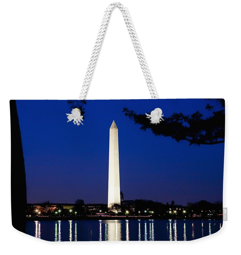 Landscape Weekender Tote Bag featuring the photograph Washington Monument by John K Sampson