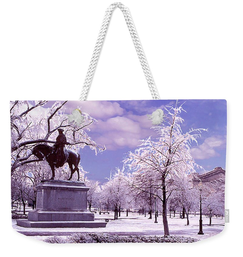Landscape Weekender Tote Bag featuring the photograph Washington Square Park by Steve Karol