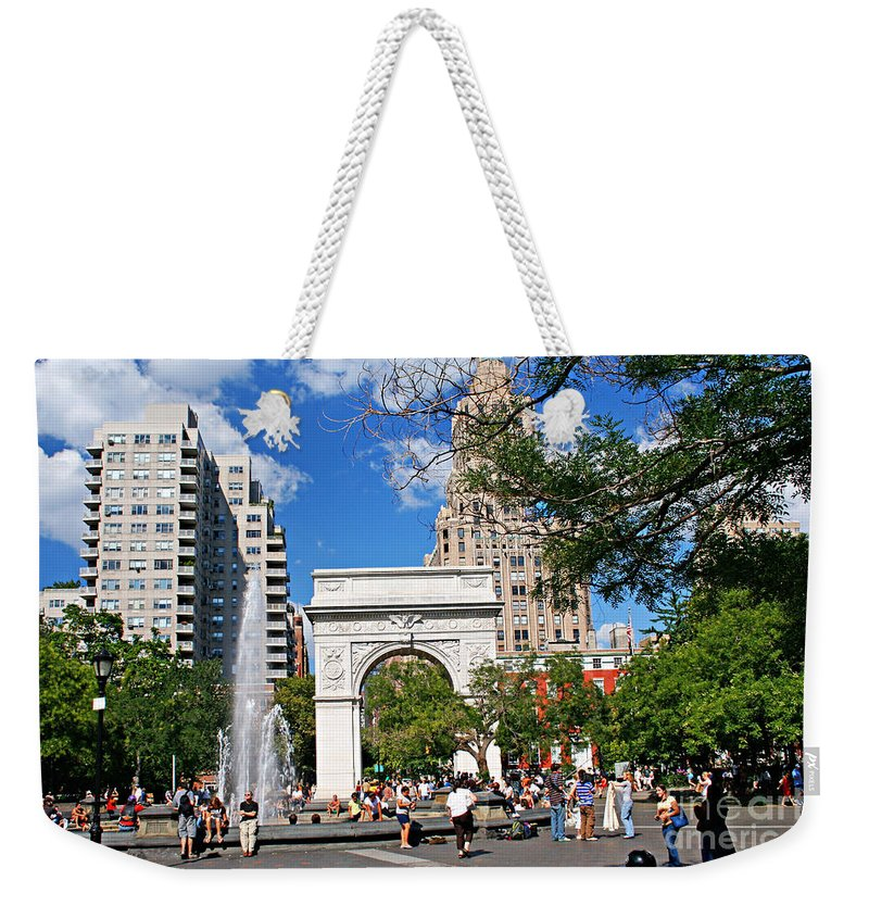Washington Weekender Tote Bag featuring the photograph Washingtone Square New York by Zal Latzkovich