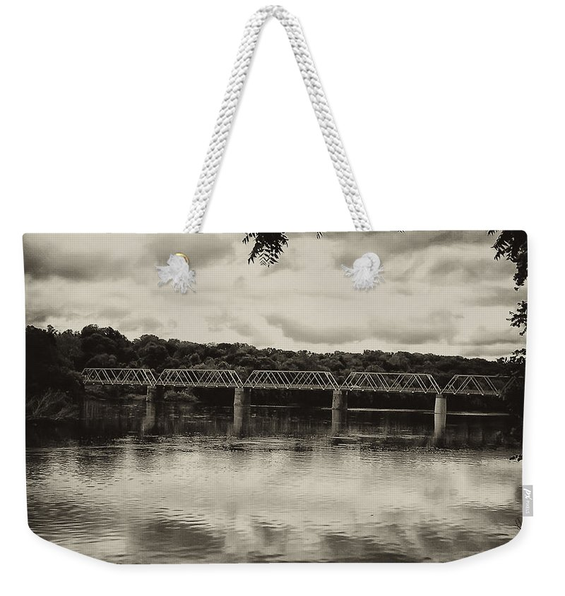 Washingtons Crossing Weekender Tote Bag featuring the photograph Washingtons Crossing Bridge by Bill Cannon