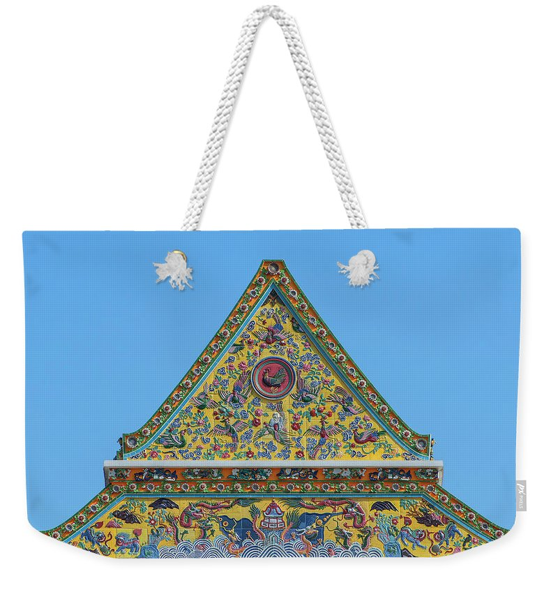Scenic Weekender Tote Bag featuring the photograph Wat Ratcha Orasaram Phra Wihan Gable Dthb0862 by Gerry Gantt