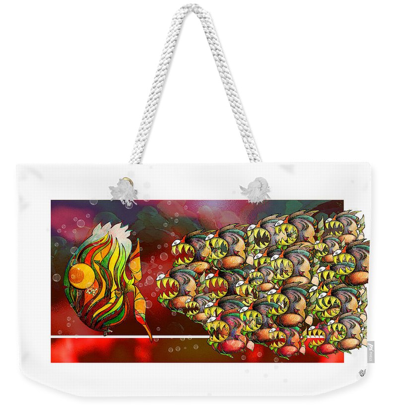 Fish Weekender Tote Bag featuring the digital art Watchamyteethacus After An Easy Meal by Daulby