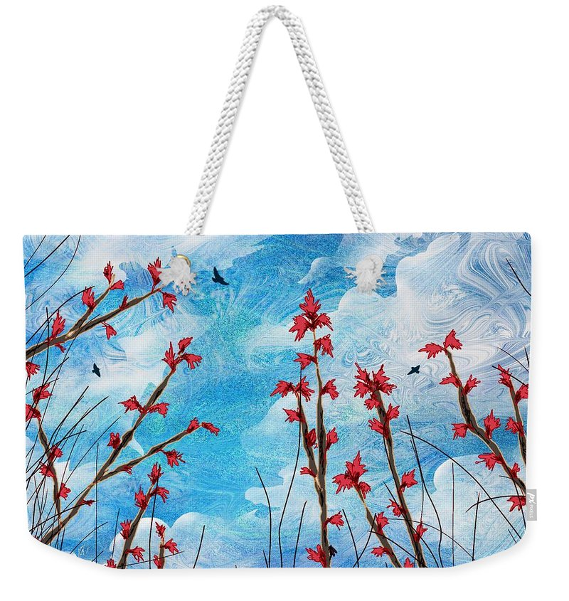 Abstract Weekender Tote Bag featuring the digital art Watching Clouds Go By by Rachel Christine Nowicki