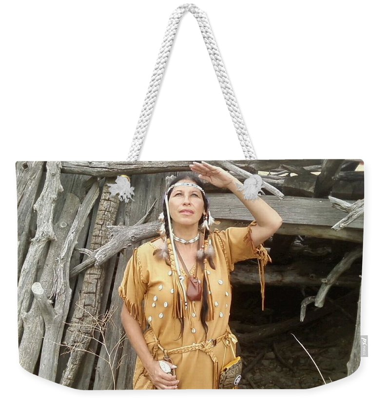 Indian Weekender Tote Bag featuring the photograph Watching For The Sign by Cindy New