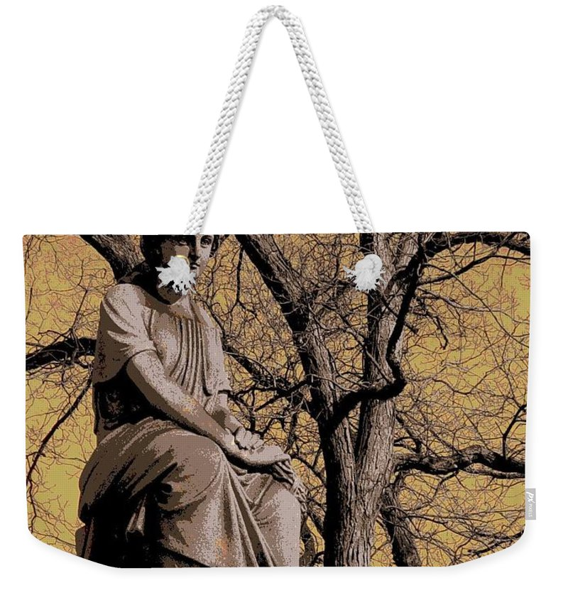 Statue Weekender Tote Bag featuring the digital art Watching Over by Anita Burgermeister