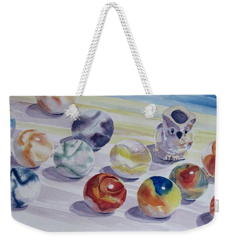 Glass Weekender Tote Bag featuring the painting Watching Over My Marbles by Karen Boudreaux